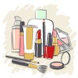Insieme dei prodotti dei cosmetici per trucco Fotografia Stock