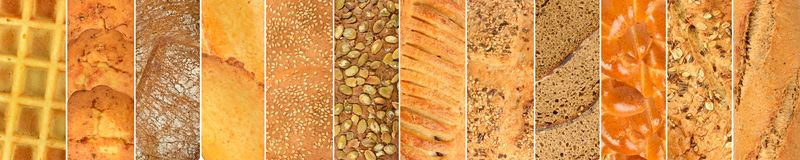 Insieme dei prodotti del pane fresco Fotografie Stock Libere da Diritti