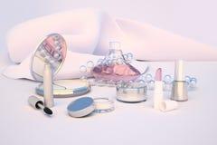 Insieme dei prodotti di bellezza su fondo leggero Immagine Stock Libera da Diritti