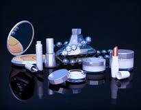 Insieme dei prodotti di bellezza su fondo nero Fotografia Stock Libera da Diritti