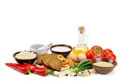 Insieme dei prodotti naturali isolati su fondo bianco Le FO in buona salute Fotografia Stock Libera da Diritti