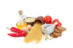 Insieme dei prodotti naturali isolati su fondo bianco Le FO in buona salute Fotografie Stock
