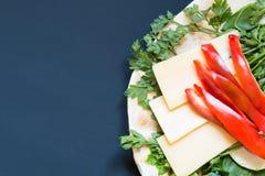 Insieme dei prodotti per la preparazione di pizza ipocalorica Immagini Stock Libere da Diritti