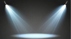 Insieme dei proiettori colorati su un fondo trasparente Illuminazione luminosa con i riflettori Il proiettore è bianco, blu illustrazione di stock