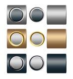 Insieme dei pulsanti dell'oro dell'argento del metallo per il disegno Fotografia Stock Libera da Diritti