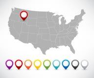 Insieme dei puntatori con la mappa degli Stati Uniti Fotografia Stock Libera da Diritti