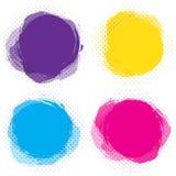 Insieme dei punti circolari variopinti, insegne astratte rotonde Modello per il testo della pasta Etichette luminose e divertenti illustrazione vettoriale