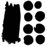 Insieme dei punti dell'acquerello in inchiostro nero Fotografia Stock