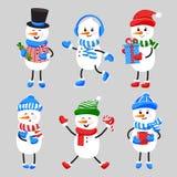 Insieme dei pupazzi di neve sorridenti del fumetto in cappello, sciarpa, guanti, pattini Fotografie Stock
