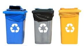 Insieme dei recipienti di riciclaggio differenti Fotografia Stock Libera da Diritti