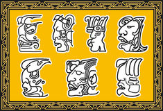 Insieme dei reticoli facciali indiani americani antichi. Fotografia Stock Libera da Diritti