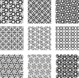 Insieme dei reticoli geometrici in bianco e nero Fotografia Stock