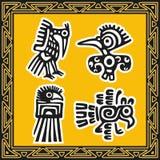 Insieme dei reticoli indiani americani antichi. Uccelli Fotografia Stock