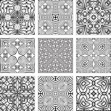 Insieme dei reticoli senza giunte geometrici in bianco e nero Fotografie Stock Libere da Diritti