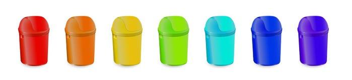 Insieme dei rifiuti Trash la raccolta di colore, l'oggetto di plastica dei rifiuti ecologici, illustrazione di vettore Illustrazione Vettoriale