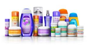 Insieme dei rifornimenti medici, del cosmetico e dei prodotti di sanità Immagini Stock Libere da Diritti