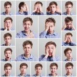 Insieme dei ritratti del ` s del giovane con differenti emozioni Fotografia Stock Libera da Diritti
