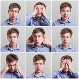 Insieme dei ritratti del ` s del giovane con differenti emozioni Immagini Stock