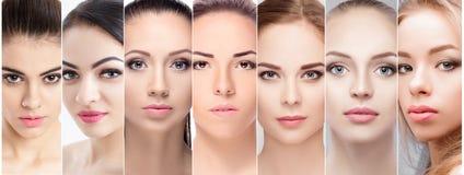 Insieme dei ritratti di bello fronte femminile con trucco naturale Fotografia Stock