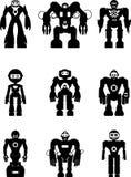 Insieme dei robot della siluetta Fotografia Stock