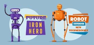 Insieme dei robot Tecnologia, futuro Illustrazione di vettore del fumetto royalty illustrazione gratis