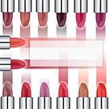 Insieme dei rossetti colorati Rossetto rosso, rossetto rosa, arancia del rossetto, vino Fotografia Stock