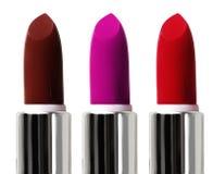 Insieme dei rossetti di colore Rossetto rosso, rossetto rosa Fotografia Stock