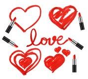 Insieme dei rossetti e delle forme del cuore Immagine Stock