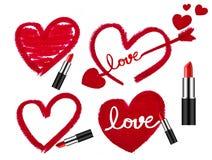 Insieme dei rossetti e delle forme del cuore Immagini Stock Libere da Diritti