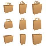 Insieme dei sacchetti marroni Fotografia Stock Libera da Diritti