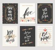 Insieme dei saluti disegnati a mano di giorno del ` s del biglietto di S. Valentino Fotografie Stock