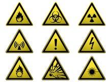 Insieme dei segnali di pericolo Fotografia Stock