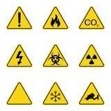 Insieme dei segnali di pericolo del triangolo Icona d'avvertimento del roadsign segno di Pericolo-avvertimento-attenzione Fondo g illustrazione di stock