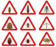 Insieme dei segnali di pericolo rossi circa gli insetti nocivi Illustrazione di vettore Fotografia Stock Libera da Diritti