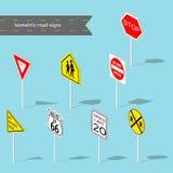Insieme dei segnali stradali Stile isometrico dell'illustrazione di vettore Immagine Stock