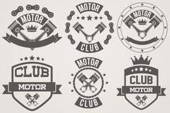 Insieme dei segni d'annata e dell'etichetta del club del motore Fotografia Stock