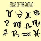 Insieme dei segni degli zodiaci dipinti a mano Raccolta di lerciume Immagine Stock Libera da Diritti