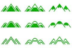 Insieme dei segni delle montagne di vettore Fotografie Stock