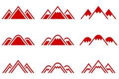 Insieme dei segni delle montagne di vettore Immagini Stock Libere da Diritti