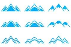 Insieme dei segni delle montagne di vettore Fotografia Stock
