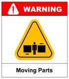 Insieme dei segni delle parti mobili del pericolo, illustrazione di vettore Fotografia Stock