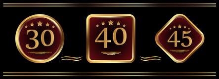 Insieme dei segni di anniversario L'emblema con la data Vettore Fotografie Stock Libere da Diritti