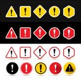 Insieme dei segni di attenzione Modella il triangolo, il quadrato, il rombo, il cerchio, esagono con punto esclamativo Progettazi Fotografie Stock Libere da Diritti