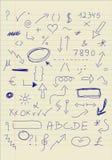 Insieme dei segni di doodle Fotografia Stock Libera da Diritti
