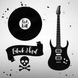 Insieme dei segni di musica di rock-and-roll, elementi, etichette Fotografie Stock Libere da Diritti