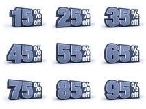 Insieme dei segni di prezzo di sconto, in 9 variazioni isolati Fotografia Stock