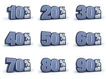 Insieme dei segni di prezzo di sconto, in 9 variazioni isolati sulla b bianca Fotografia Stock Libera da Diritti
