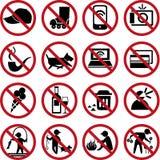 Insieme dei segni di proibizione Fotografia Stock Libera da Diritti