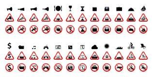 Insieme dei segni di proibizione. Illustrazione di vettore Fotografie Stock