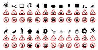 Insieme dei segni di proibizione. Illustrazione di vettore Fotografia Stock Libera da Diritti